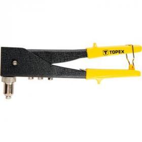 Заклепочник Topex для заклепок алюминиевых 2.4, 3.2, 4.0, 4.8 мм, две позици (43E712)