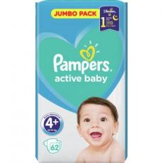 Подгузник Pampers Active Baby Maxi Plus Размер 4+ (10-15 кг), 62 шт. (8001090948335)