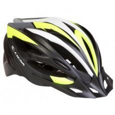 Шлем Velotrade с козырьком СIGNA WT-068 черно-бело-салатовый М (54-57см) (HEAD-015)