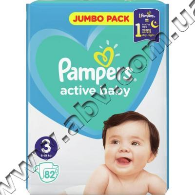 Подгузник Pampers Active Baby Midi Размер 3 (6-10 кг), 82 шт.  (8001090948175) c11fe8652af